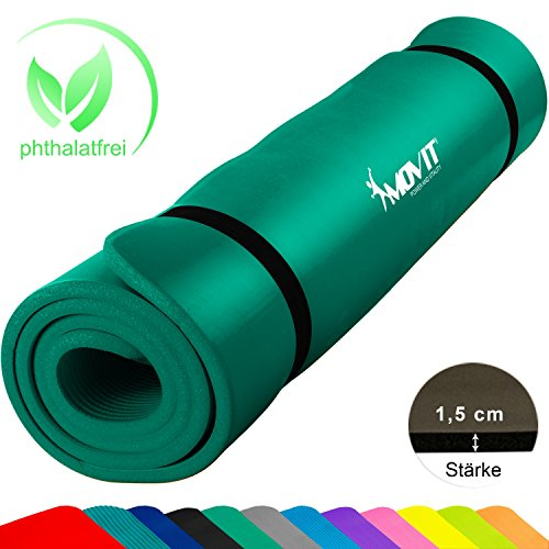 Movit XXL Pilates Gymnastikmatte, Yogamatte, phthalatfrei, SGS geprüft, 190 x 100 x 1,5cm, Grün