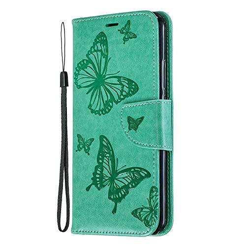 Lomogo Huawei P Smart+ (P Smart Plus) Hülle Leder, Schutzhülle Brieftasche mit Kartenfach Klappbar Magnetverschluss Stoßfest Kratzfest Handyhülle Case für Huawei P Smart+ - LOBFE140186 Grün