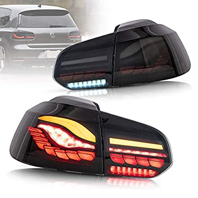 VLAND OLED Sequential Smoked Tail Lights Assembly Compatible For [Volkswagen VW Golf 6 MK6 2010-2014] Rear Lamps Assembly W/ Dragon Scales Running Light,( Not Fit Cabrio & GTI & Convertible & GOLF R)