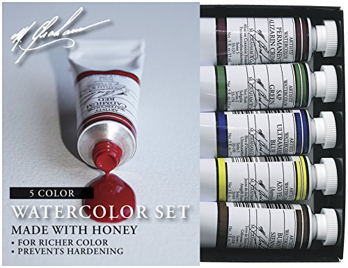 M. Graham 33-Set 1/2-Ounce Tube Watercolor Paint Basic 5-Color Set