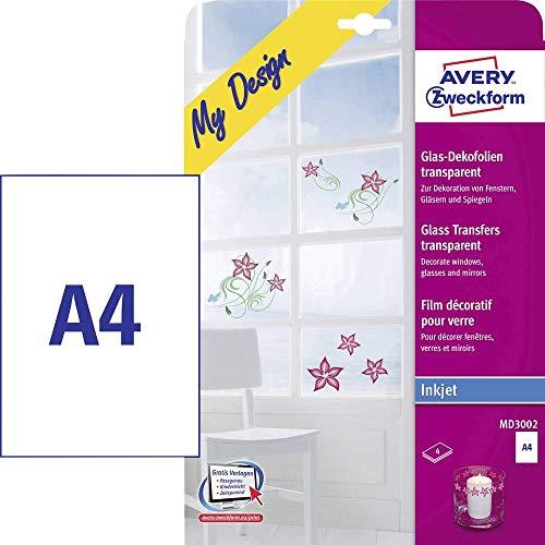 AVERY Zweckform MD3002 glas- en raamfolie (210x297 mm op DIN A4, zelfklevend, bedrukbare decoratiefolie voor glasoppervlakken, inkjet-/inkjetprinters) 4 transparante transferfolies