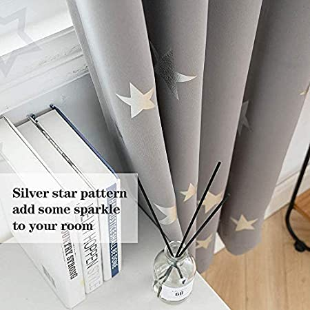 Grommet Top Window Drapes Protect Privacy 38x54 Inches Lofus Blackout Curtains for Kids Room with Cute Shiny Star Pattern Navy Blue