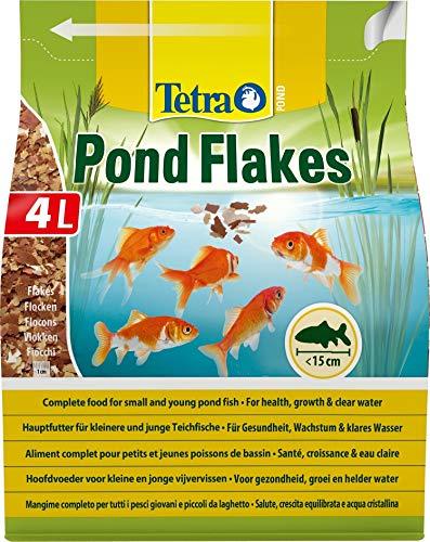 Tetra Pond Flakes – Fischfutter für kleinere und junge Teichfische in Flockenform, für eine abwechslungsreiche und ausgewogene Ernährung, 4 L Beutel