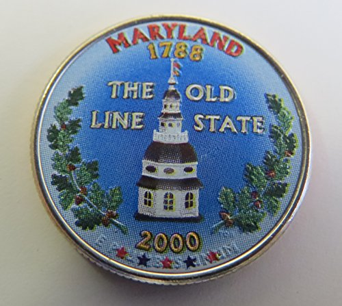 2000 Various Mint Marks Maryland State Colorized Quarter Choice Uncirculated