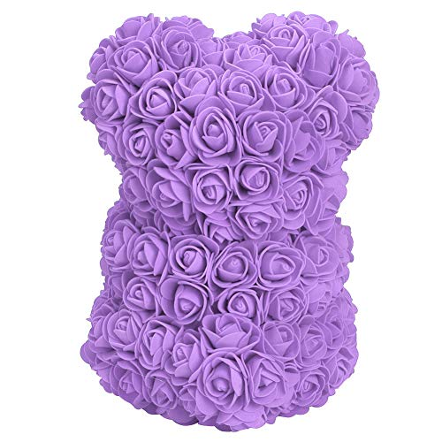 Urso de flor rosa, ursinho de pelúcia rosa, altamente ornamentais para oferta de presentes de decoração familiar(purple)