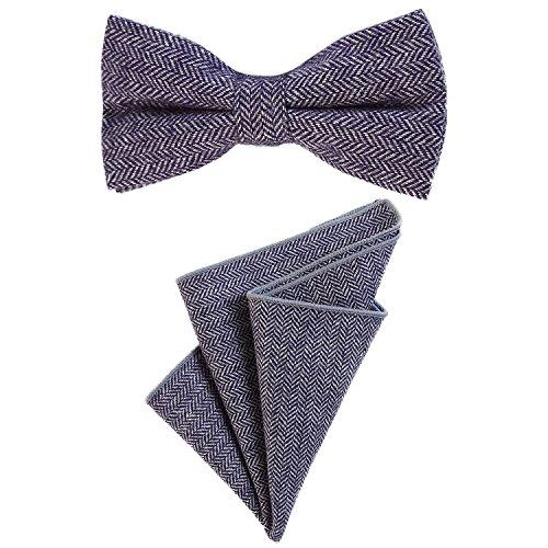 DonDon DonDon Herren Fliege 12 x 6 cm mit farblich passendem Einstecktuch 23 x 23 cm beides aus Baumwolle im Tweed Look blau kariert