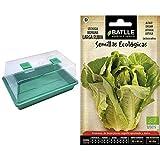 Biotop B2015B Germinador de Semillas, Invernadero Mini en Color Verde, 39 x 12 x 24 cm + Semillas Batlle Ecológicas Hortícolas Lechuga Romana Larga Rubia Eco