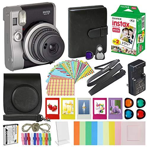 Fujifilm Instax Mini 90 Neo Classic Instant Film Camera Black with 20 Instant Film Accessory Bundle