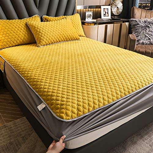 LYXQQ Microfibre Bed Cover, Winter Milk Velvet Sheets, Thick Fleece Bedding Set, Lightweight and Comfortable, Yellow, 150 x 200 cm
