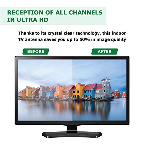KafooStore Antenne TV Intérieure TNT HD Puissante - Portable à Base Magnétique pour Réception Optimale - Câbles Inclue - Antenne Numérique À Tige pour DVB-T, DTMB, TNT Et TV