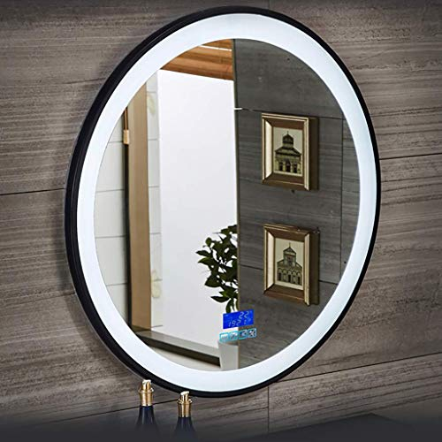 GJJSZ Round LED Illuminated Bathroom Mirror With Touch Switch/Clock Function/Bluetooth Audio,Demister Wall Mounted Decorative Mirror
