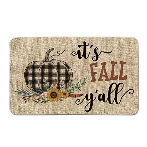 Artoid Mode It's Fall Y'all Watercolor Buffalo Plaid Pumpkin Decorative Doormat, Fall Thanksgiving Harvest Rustic Yard Low-Profile Floor Mat Switch Mat for Indoor Outdoor 17 x 29 Inch