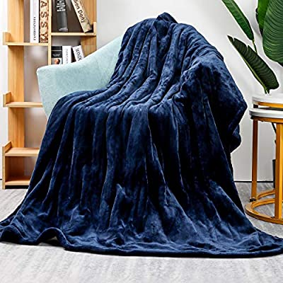 Homde Heated Electric Throw 50 Inch x 60 Inch Flannel Washable Blanket with 3-Heat Setting Auto-Off Controller for Bed or Couch (Double-Side Blue) from Homde