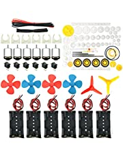 EUDAX 6 Set Rectangular Mini Electric 1.5-3V 24000RPM DC Motor with 84 Pcs Plastic Gears,Electronic Wire, 2 x AA Battery Holder,Boat Rocker Switch,Shaft Propeller for DIY Science Projects