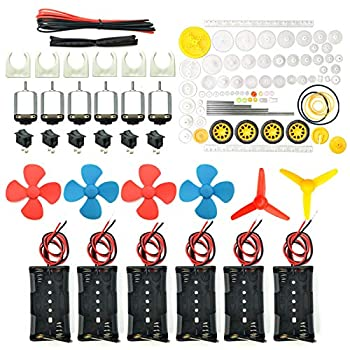 EUDAX 6 set Rectangular Mini Electric 1.5-3V 24000RPM DC Motor with 84 Pcs Plastic Gears,Electronic wire 2 x AA Battery Holder ,Boat Rocker Switch,Shaft Propeller for DIY Science Projects