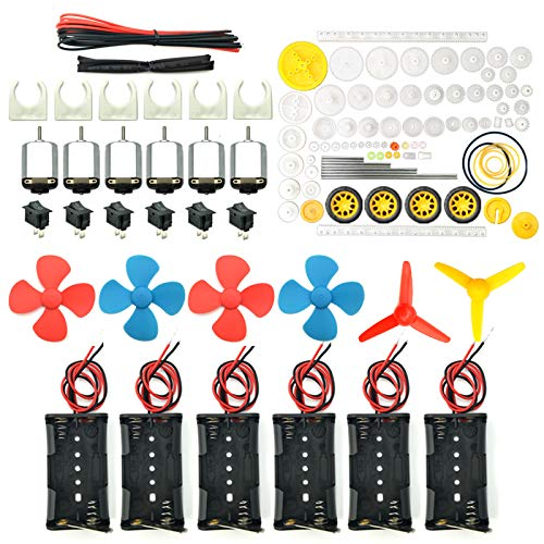 EUDAX 6 set Rectangular Mini Electric 1.5-3V 24000RPM DC Motor with 84 Pcs Plastic Gears,Electronic wire, 2 x AA Battery Holder ,Boat Rocker Switch,Shaft Propeller for DIY Science Projects (0.167 Hp Motor)