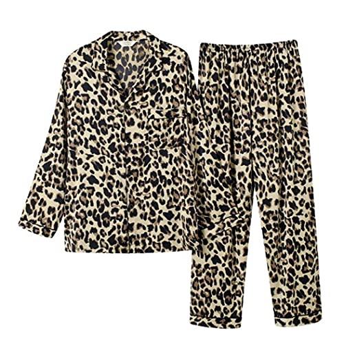 VusiElag Pareja Pijama Set Satin Pajama Pantalones de Manga Larga de Verano (para Hombres 2pcs Leopard 3XL)