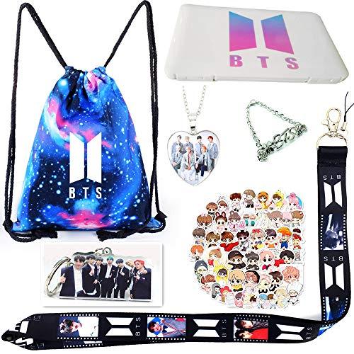 YangJY Kpop BTS Army Fans Gift Set,Including Drawstring Bag,Mask Storage Box,Bracelets,NecKLACE,3D Ssticker,Key Chain,and Lanyard