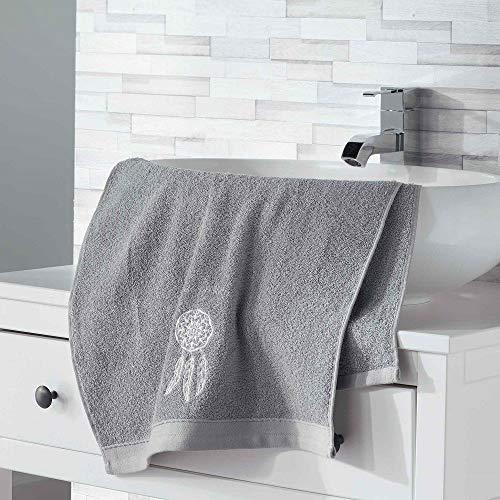 douceur d'intérieur 2 gants de toilette 16x21 cm eponge brodee talisman gris