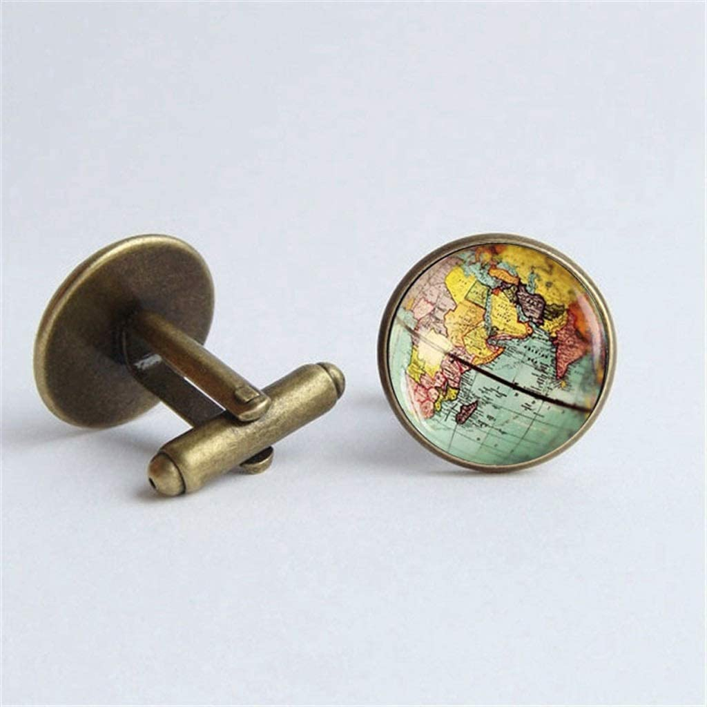 ZZABC Vintage Earth World Map Cufflinks Globe Planet Art Photo Crystal Glass Dome Shirt Cuff Links for Men Personality (Color : A)