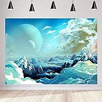 写真の 青い背景 7X5FT 女の子パーティー装飾用品写真撮影の小道具107のZhy海の月の背景