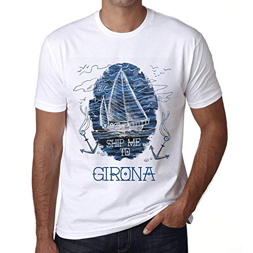 One in the City Hombre Camiseta Vintage T-Shirt Gráfico Ship Me To GIRONA Blanco