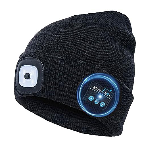 COZONE Berretto Unisex Bluetooth LED Beanie con Luce, USB Ricaricabile Torcia per Cuffie Cuffia Cappello Musicale, Regali per Uomo e Donna, Cappellino Invernale Caldo per Sport all'aperto