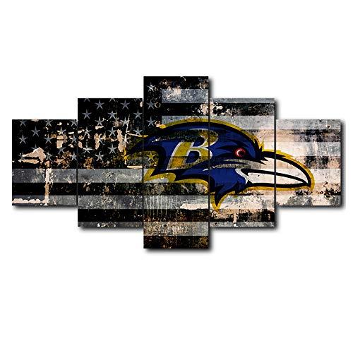 AHJJK Leinwandbild 5 Stück Wandkunst Malerei Baltimore Ravens kreativ Das Bild Druck Auf Leinwand Kunstwerk Bilder Für Zuhause Büro Moderne Dekoration Rahmenlos XL(150x80cm)
