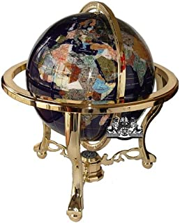 Unique Art 21-Inch Tall Blue Lapis Ocean Table Top Gemstone World Globe with Gold Tripod