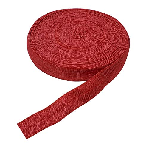10 Yards Fold Over Elastic Stretch, Braided Elastic Ribbon for Hair Ties Headbands, Available in Various of Colours (Red, 5/8in)