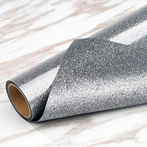 Glitter Silver Heat Transfer Vinyl Rolls-12in.x5ft, Heat Press Iron on Vinyl for T Shirts Gifts for Mom or Dad by TransWonder (Silver)