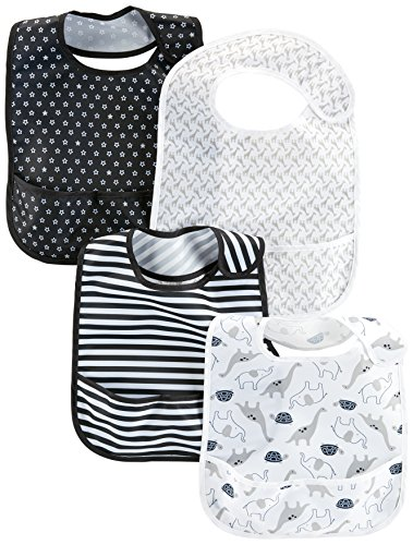 Simple Joys by Carter's Baby 4-Pack Feeder Bibs, Black/White, One Size