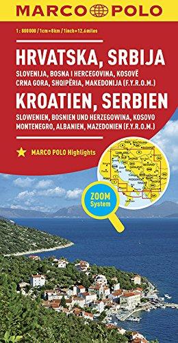 Marco Polo Kroatie, Servië, Bosnië, Slovenië, Kosovo, Montenegro, Albanië, Macedonië: Wegenkaart 1:800 000