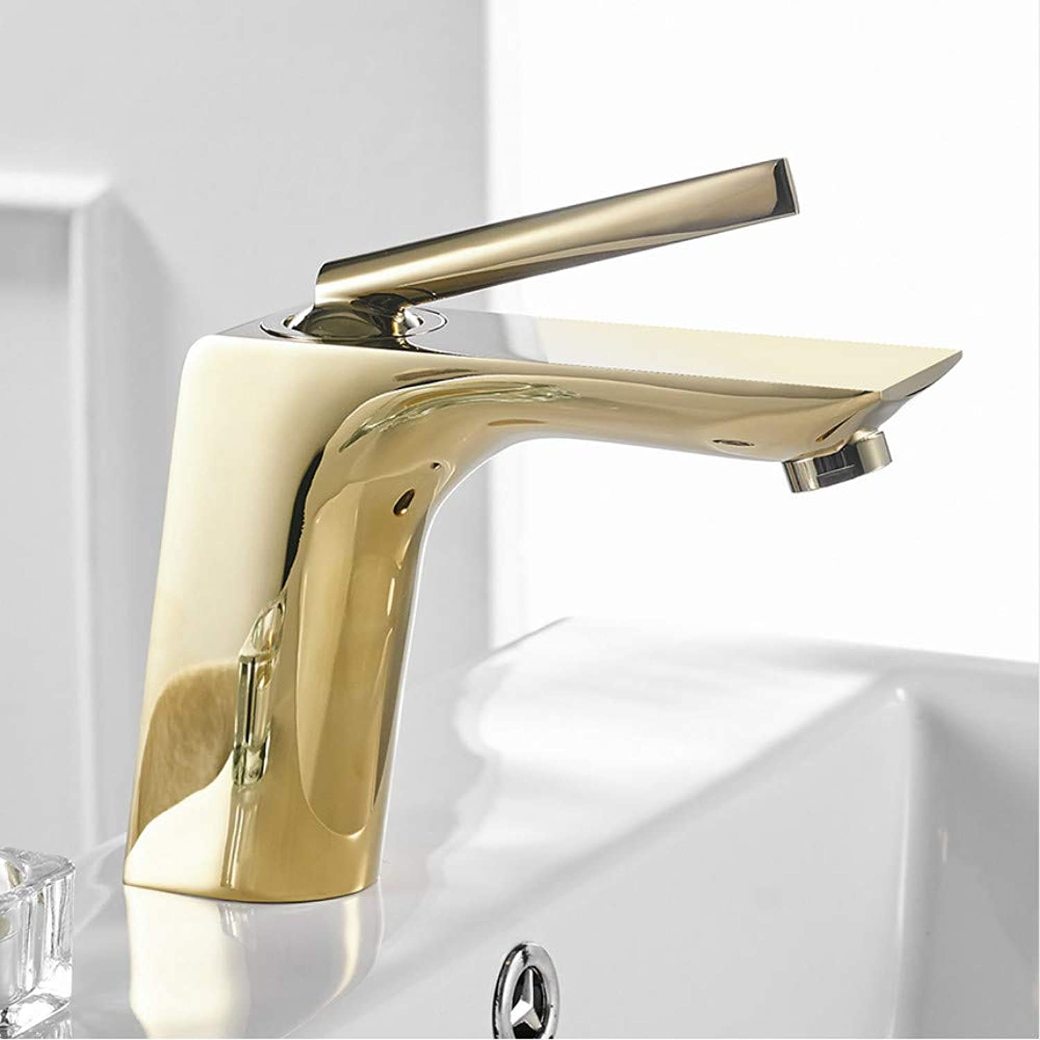 LLLYZZ Basin Faucets Modern White Chrome Brass Bathroom Sink Faucet Single Handle Hole Toilet Bath Mixer Water Tap Crane