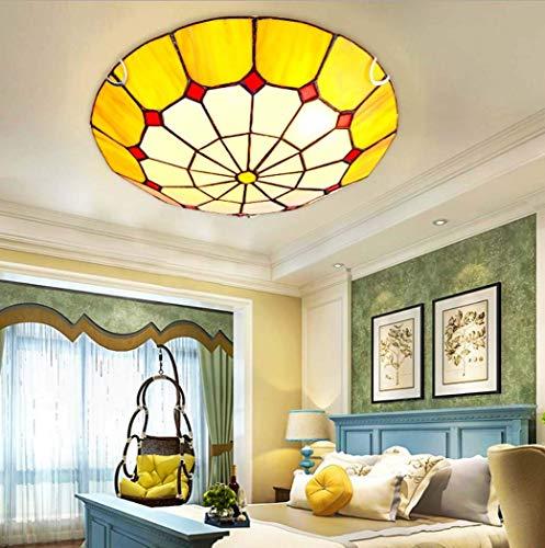 Lámpara de Techo LED de Montaje Empotrado Estilo mediterráneo Tiffany, lámpara de Techo LED Naranja con vitrales, para Dormitorio, Comedor, Pasillo, lámpara, Chip LED, 12 W / 18 W / 36 W, luz cálida,