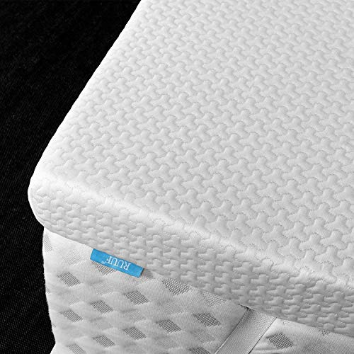 RUUF 3-Inch Firm Mattress Topper Queen, High Density Memory Foam Bed Topper for Pressure Relieving, Foam Topper with Removable Cooling Cover