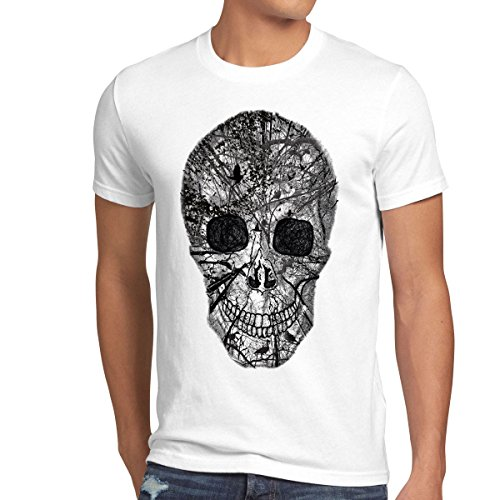 style3 Nature Skull Camiseta para Hombre T-Shirt Calavera, Talla:XL;Color:Blanco