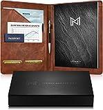 Nero Manetti - Carpeta de cuero para portafolios - Cartera de piel sintética para hojas de vida, cartera de documentos legales, carpeta ejecutiva, cuaderno profesional para mujeres/hombres (marrón)