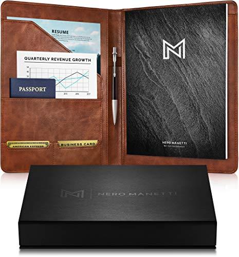 NERO MANETTI- Leather Portfolio Folder - Business PU Leather Portfolio Notepad Holder for Resumes, Legal Pad Portfolio Executive Binder, Professional Padfolio Notebook for Women/Men (Brown)
