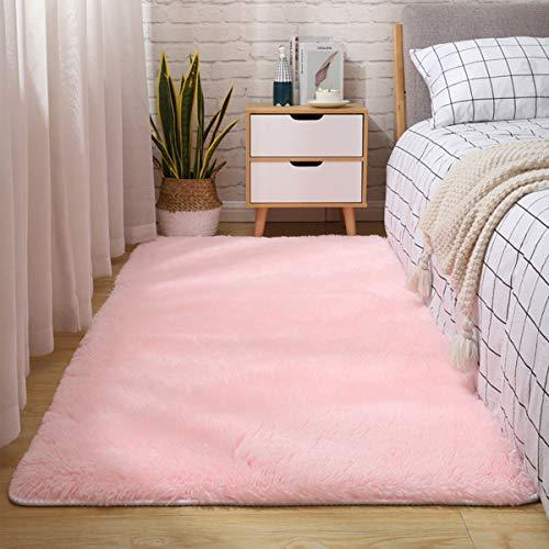 Tapis d'intérieur modernes ultra doux tapis de salon moelleux adaptés aux enfants chambre décor à la maison tapis rectangulaire (80X160cm, Rose)