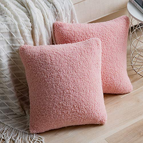Anickal Set of 2 Rose Pink Blush Decorative Luxury Faux Curly Wool Fur Pillow Covers 16x16 Inch Soft Wool Square Throw Pillow Cases Cushion Covers for Sofa Couch Bedroom Living Room Home Decoration