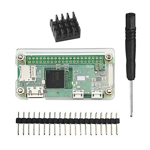 Pi Zero/Zero W Case, 4 in 1 Basic Starter Kit with Acrylic Raspberry Pi Zero Case, 20Pin GPIO Header, OTG Cable, Switch Cable, Heatsink and Screwdriver