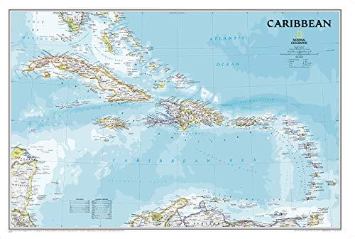 National Geographic: Karibische klassische Wandkarte, 91,4 x 61 cm, Kunstdruck