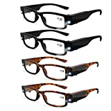 4 Pcs Reading Glasses with Light Bright LED Readers with Lights Reading Glasses Lighted Magnifier Nighttime Reader Compact Full Frame Eyewear Clear Vision Unisex Clear Vision Lighted (+150)