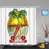 NISENASU Imperméable Rideau de Douche,Planche de Surf Mele Kalikimaka,ImperméableSalle de Bain avec Crochets,180 x 180 cm