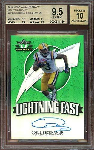 2014 leaf valiant draft lightning fast #lfobj ODELL BECKHAM auto rc BGS 9.5 10 - Football Slabbed Autographed Cards