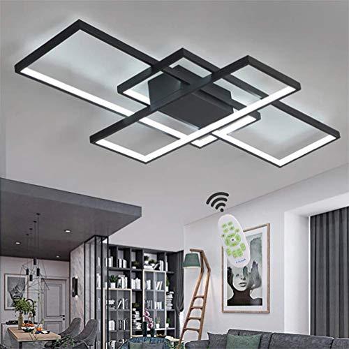 LED Deckenleuchte Wohnzimmer Lampen Dimmbar Deckenlampe Modern Eckig Design Decke Leuchen Aluminium Lampenschirm Pendelleuchte Wohnzimmerlampe Schlafzimmerlampe Esszimmerlampe Küchelampe (Schwarz)