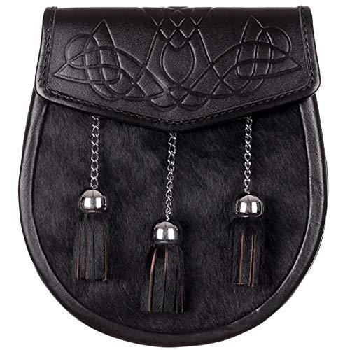 The Scotland Kilt Company Black Calfskin Scottish Celtic Budget Semi Dress Sporran With Chrome Tassels