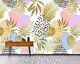 Papeles pintados de hojas de plátano dorado dibujados a mano murales de pared Pared Pintado Papel tapiz 3D Decoración dormitorio Fotomural de estar sala sofá mural-250cm×170cm