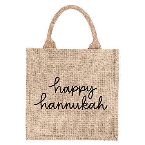 12' Reusable Burlap Gift Tote Bag - Happy Hanukkah (Black Design)